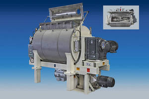 Horizontal Paste Mixer has mixing capacity of 275-550 gal.
