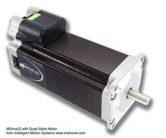 Stepping Motor has 12-60 Vdc integrated driver.