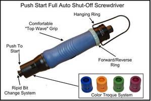 Pneumatic Screwdriver provides torque range of 0.5-150 lb-in.