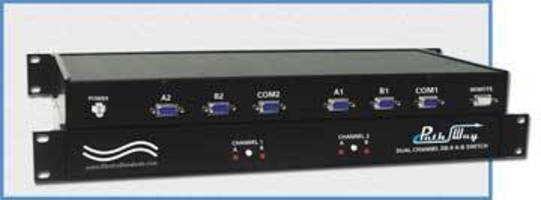 Dual Channel A/B Switch has remote contact control port.