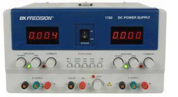 Triple Output DC Power Supply measures 5.7 x 10.5 x 15 in.