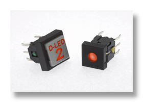 Illuminated Tact Switch offers multiple cap options.