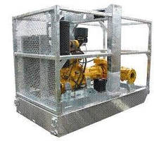 Pipeline Pump has galvanized fuel tank and protection cage.