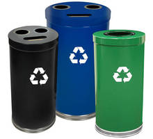 Recycling Containers come with single- or three-opening lids.