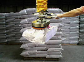 Vacuum Lifter Safely Handles 125 lbs. Sacks