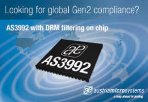 "austriamicrosystems Introduces the AS3992 ""Simply Gen 2"" UHF RFID Reader with Programmable Dense Reader Mode"