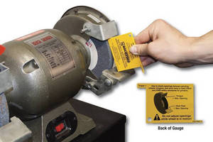 Bench Grinder Safety Gauge helps achieve OSHA compliance.