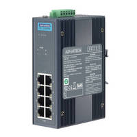 Industrial PoE Switch has eight 10/100Base-TX Ethernet ports.