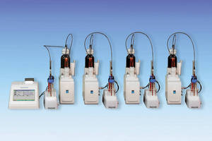 Potentiometric Titrator can run 4 stations in parallel.