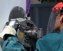 Handheld Water Jet System facilitates surface preparation.
