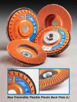 Flap Discs feature trimmable, flexible plastic back plate.