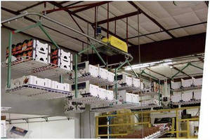Multi Size Boxes Transported Overhead on Custom Carriers
