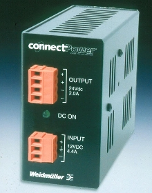 DC/DC Converter takes up small amount of DIN-rail space.