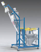 Mobile Half- Frame Bulk Bag Discharger Has Manual Dump Station, Flexible Screw Conveyor