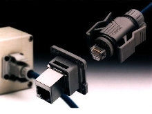 Industrial Ethernet Connectors meet IP67 watertight rating.