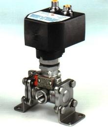 Solenoid Valve mounts to multi-directional valves.