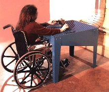 Downdraft Workstation is wheelchair accessible.