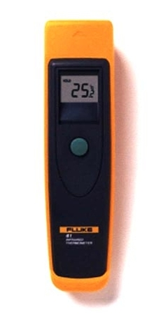 Infrared Thermometer uses laser beam for aiming.