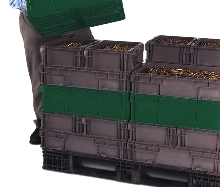 Containers have matching pallets and top caps.