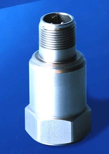 Accelerometer monitors vibration on rotating machinery.