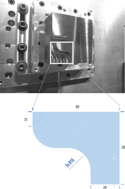 Using a cutting path with concave, convex, and straight portions allowed more rigorous verification of the model in one setup with varying cutting conditions. Credit: Makino