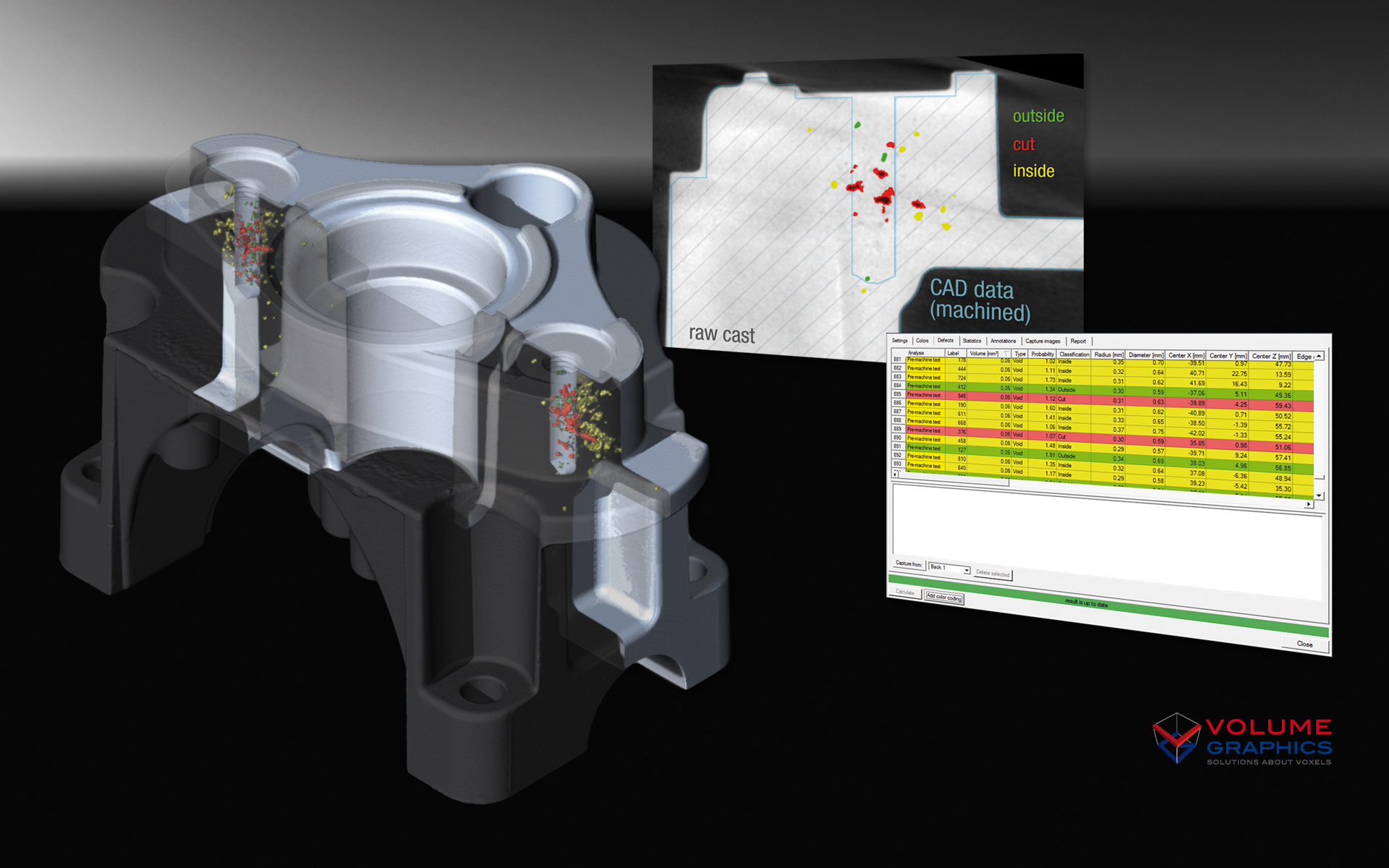 VGStudio Max software from Volume Graphics allows CAD data to be overlaid with CNC data to validate part dimensions.