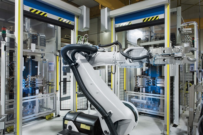 Major increases in U.S. manufacturing technology orders and cutting tool sales in September are raising business expectations for the fourth quarter and 2015. Shown here is an automated work cell developed by EMAG.